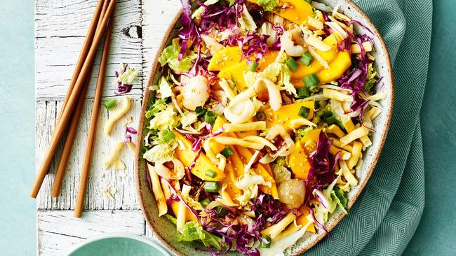 Mango and lychee crunchy noodle salad