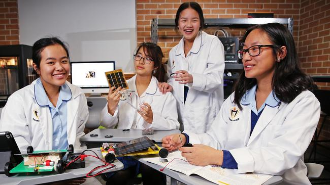 Students Anh Nguyen, Flavia Ching Lu, Jenna Chan and Teresa Tran in the STEM program at Cerdon College. Picture: supplied