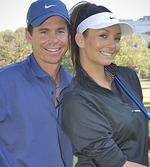 <p>In the swing ... golfer and former tennis player Scott Draper with Ricki-Lee. They performed together on reality TV show 'It Takes Two'.</p>