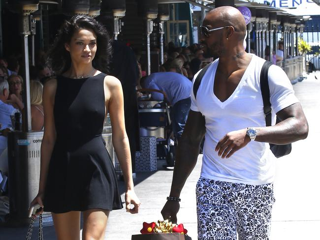 Shanina Shaik and Tyson Beckford arrive at Otto Restaurant, Woolloomooloo. Picture: Bradley Hunter
