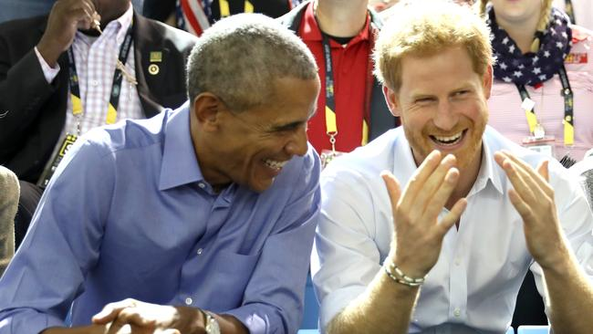 President Barack Obama and Prince Harry at the Invictus Games 2017. Picture: Chris Jackson / Getty Images.