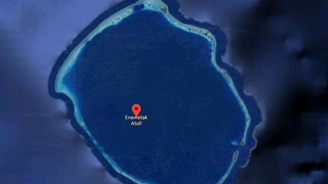 Enewetak Atoll as seen from above, is part of the Marshall Islands.