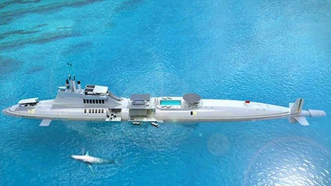 A 300m Migaloo Private Submersible Yacht.