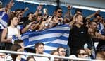 MELBOURNE, AUSTRALIA - JANUARY 22: Greek fans show their support towards Maria Sakkari of Greece during her Women's Singles second round match against Nao Hibino of Japan on day three of the 2020 Australian Open at Melbourne Park on January 22, 2020 in Melbourne, Australia. (Photo by Daniel Pockett/Getty Images)
