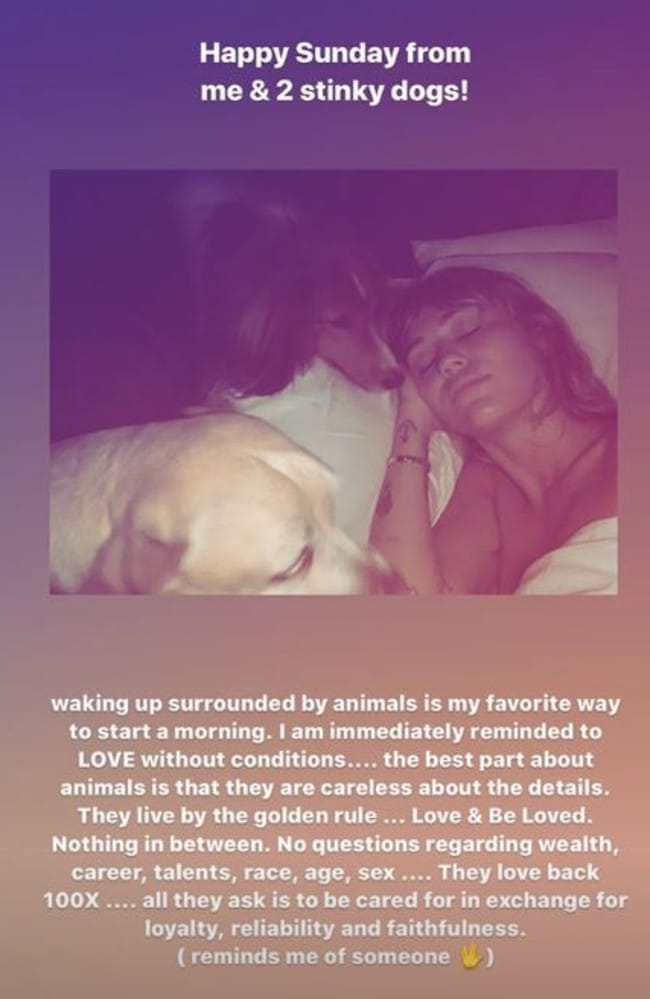 Miley's Instagram Story seemed like a clear dig at her exes. Picture: Instagram.