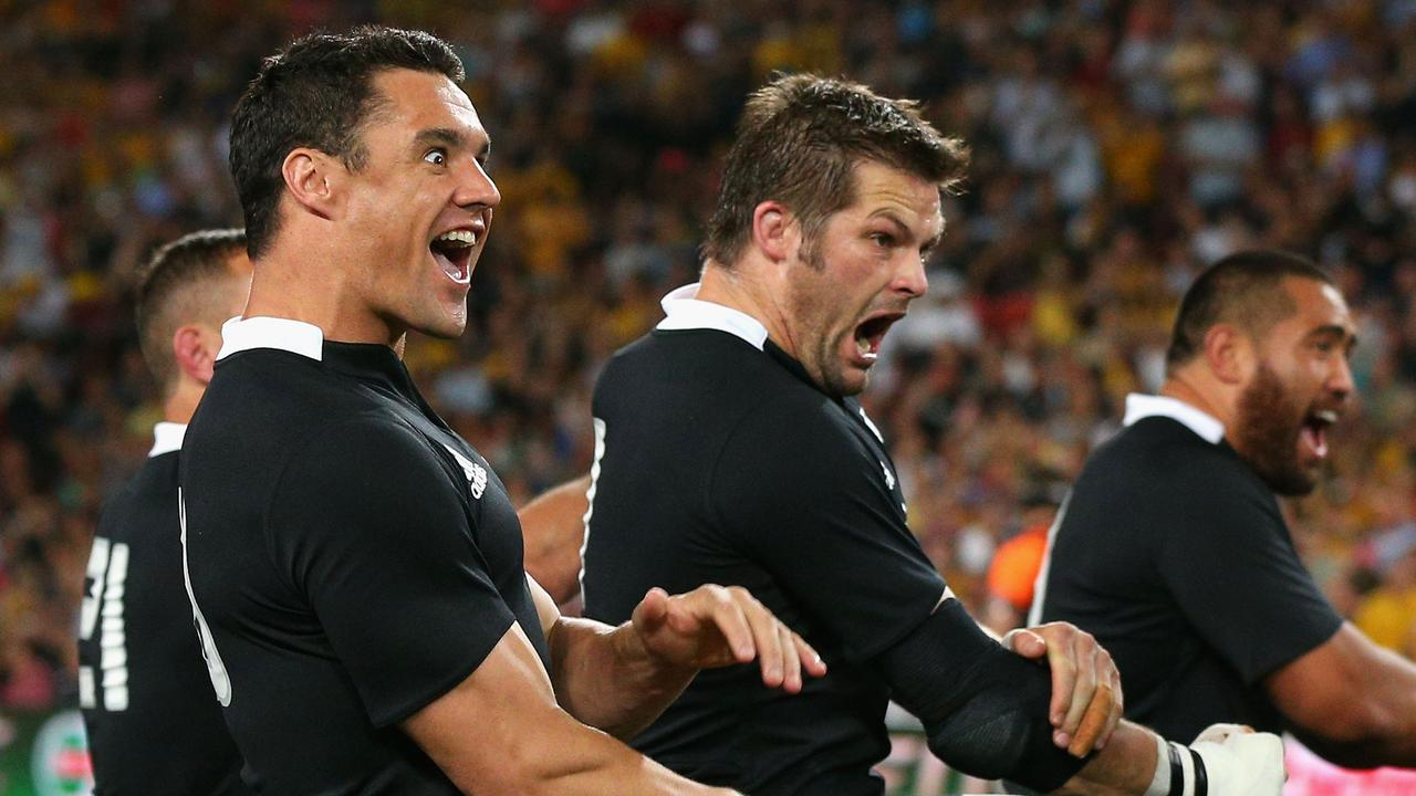 Dan Carter and former All Blacks captain Richie McCaw perform the haka during a Bledisloe Test against the Wallabies in 2012.