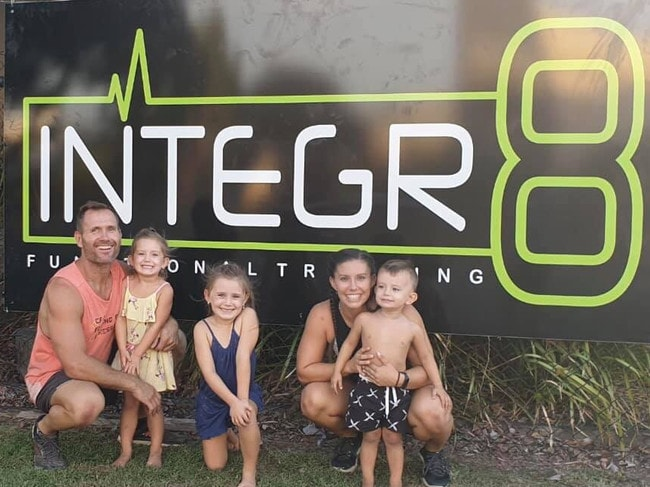 Rowan and Hannah Baxter with their children Laianah, Aaliyah and Trey outside their Integr8 gym. Photo: Facebook