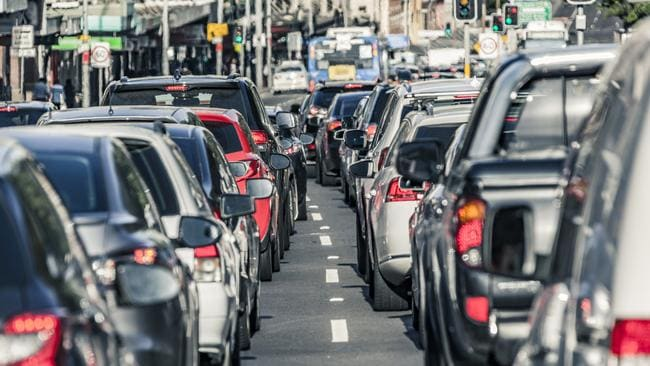 Clogged Sydney Road in Melbourne.