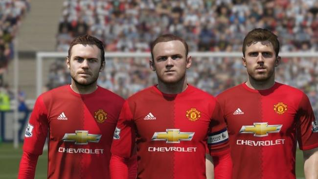 Juan Mata, Wayne Rooney and Michael Carrick.