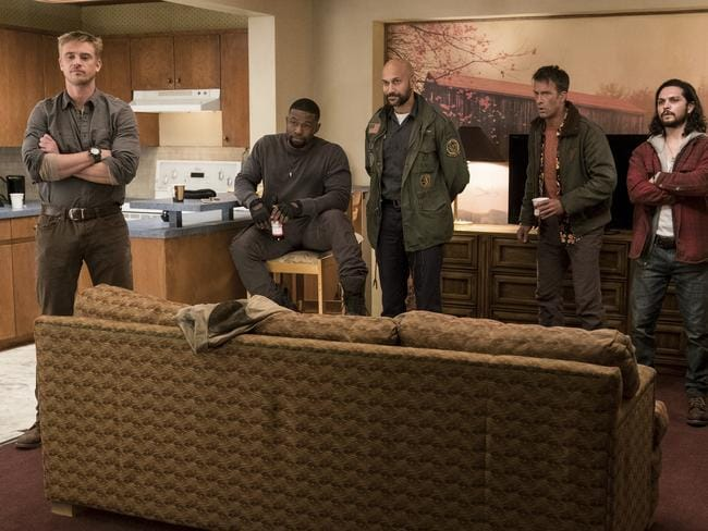 Boyd Holbrook, Trevante Rhodes, Keegan Michael-Key, Thomas Jane and Augusto Aguiliera in The Predator.