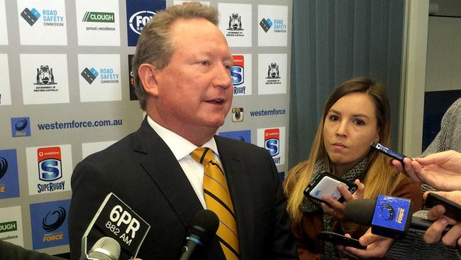 Billionaire businessman Andrew Forrest addresses the media.
