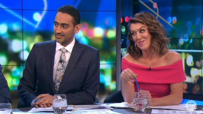 Hosts Waleed Aly and Gorgi Coghlan were left stunned by the live TV moment. Picture: Channel 10