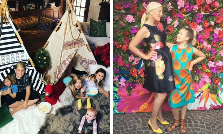 <b> TORI SPELLING </b>  <p> Unlike the rest of the celebs on this list, Tori doesn't seem to have any qualms about sharing her family with the world. Photos of her five kids, alongside hubby Dean McDermott, are all over her Insta. We've seen everything from lavish birthday parties to family days out. </p>