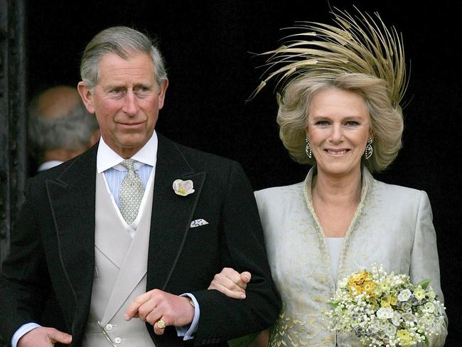 Prince Charles and his bride Camilla Duchess of Cornwall leave St George's Chapel in Windsor, following the church blessing of their civil wedding ceremony. Picture: AP