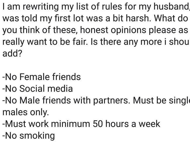 """Rosiee"" said she was rewriting the list of rules for her husband."
