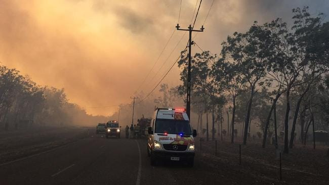 Out-of-control bushfires have prompted the highest level of alert for residents in Humpty Doo. Picture: NT Police