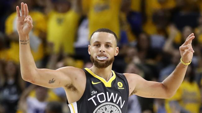 Stephen Curry of the Golden State Warriors was on fire in Game 2. Picture: AFP