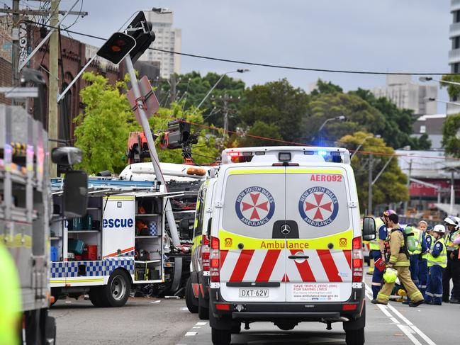 The scene of a truck crash on Botany Rd in Sydney, Wednesday, December 12, 2018. Picture: Mick Tsikas/AAP