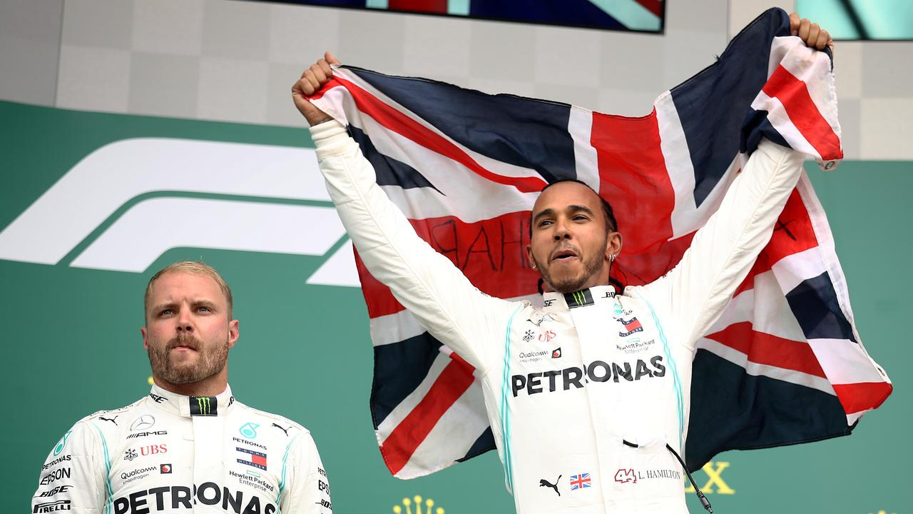 Race winner Lewis Hamilton and second placed Valtteri Bottas.