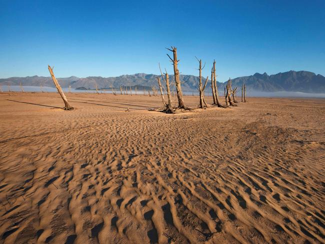 This photo taken on May 10, 2017 shows bare sand and dried tree trunks standing out at Cape Town's Theewaterskloof Dam, which has less than 20 per cent of it's water capacity. Picture: Rodger Bosch