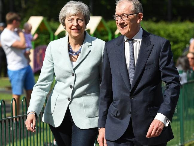 Calls for Mrs May, pictured with husband Philip, to step down as Prime Minister had grown deafening after she repeatedly failed to pass her Brexit deal. Picture: Leon Neal/Getty Images