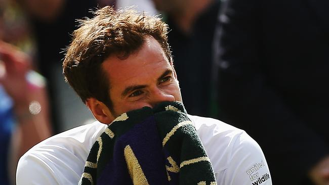 Andy Murray sits dejected during his match against Grigor Dimitrov.