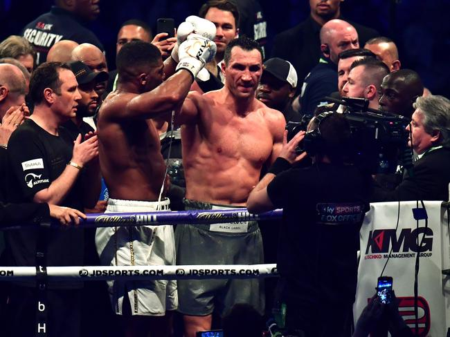 Anthony Joshua and Wladimir Klitschko after their Wembley Stadium epic.