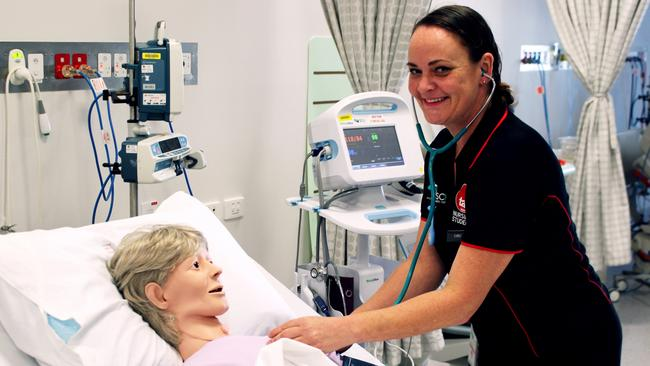 TAFE Queensland nursing student Carly Byrne says doing a diploma first gives her practical experience to get work more quickly than if she went straight into university. Picture: Supplied