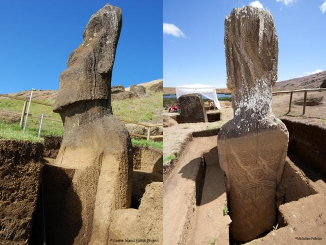 """Excavations: Rano Raraku quarry was first reported to the outside world in 1868 by officers of HMS Topaze. The world was fascinated, and many sketches, essays, newspaper articles, and books were published describing the statues embedded in the slopes as """"heads."""" Pictures: Easter Island Statue Project."""
