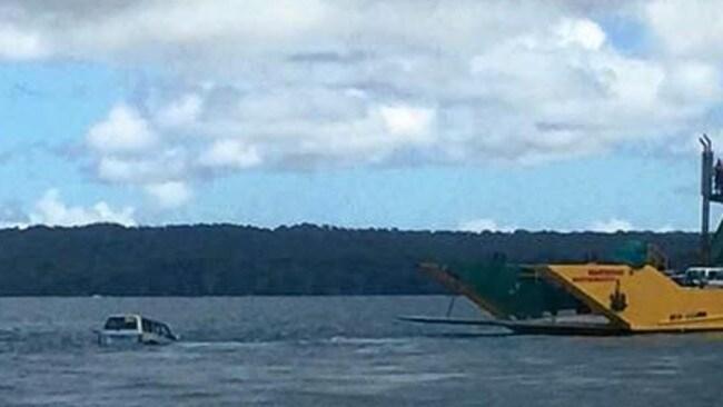 Four-wheel-drive vehicle has fallen from car ferry near