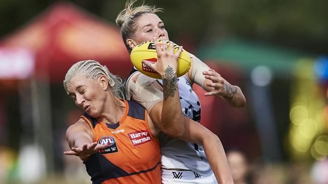 Tayla Harris was dominant in the air for the Blues. Picture: Getty Images