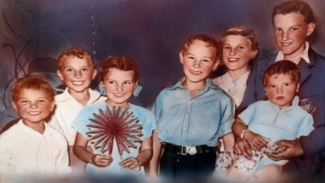 Ivan Milat (blue shirt) in 1954, aged 10, with siblings (from left) Michael, William, Shirley, Mary and Alex holding Walter at their Moorebank home.