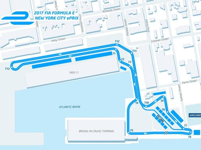 The circuit layout for the first New York City ePrix.