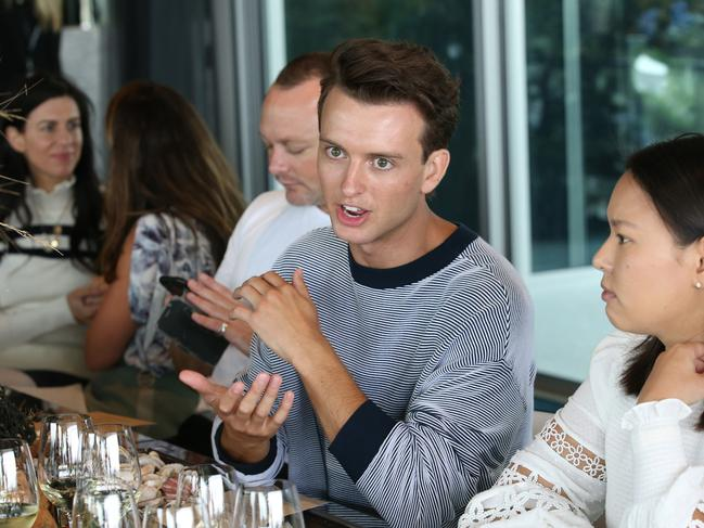 David Jones AW'19 Launch at MONA. Cameron Robbie chats to guests during the lunch. Picture: David Caird