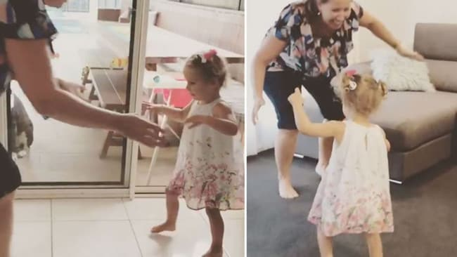 Keira Hockley, 2, has taken her first steps despite being diagnosed with congenital CMV which has affected her brain since birth. Facebook/ Keira's CMV Journey
