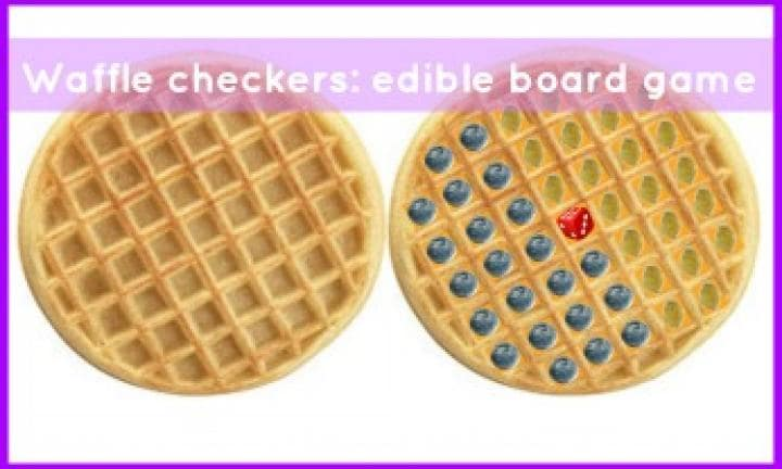 Waffle checkers: Edible board game