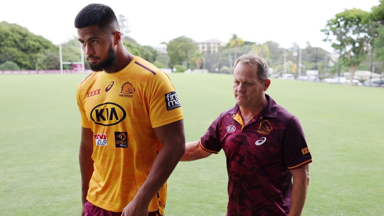 Broncos prop Payne Haas with Kevin Walters.