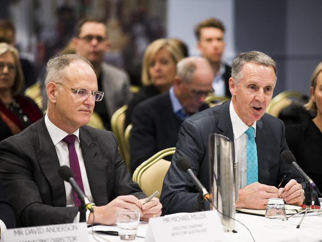News Corp Australia Executive Charman Michael Miller and Director of Corporate Affairs Campbell Reid at the Press Freedom Hearing at Castlereagh Boutique Hotel, Sydney. Picture: Dylan Robinson