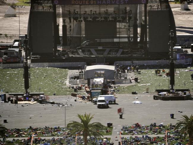 Debris is strewn through the scene of a mass shooting at a music festival near the Mandalay Bay Resort and Casino on the Las Vegas strip. Picture: AP