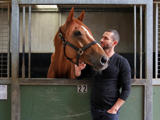 Part-owner Brae Sokolski with Melbourne Cup runner Finche. Picture: Aaron Francis/The Australian