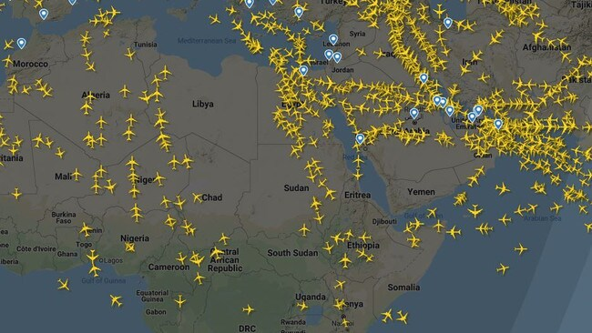Many countries in Africa and the Middle East are considered no-fly zones. Picture: FlightRadar24