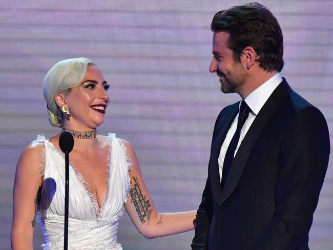 Lady Gaga and Bradley Cooper speak onstage during the 25th Annual Screen Actors Guild Awards. Picture: AFP