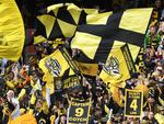 Fans of the Tigers wave flags during the AFL grand final between the Adelaide Crows and Richmond Tigers at the MCG in Melbourne, Saturday, September 30, 2017. (AAP Image/Julian Smith) NO ARCHIVING, EDITORIAL USE ONLY