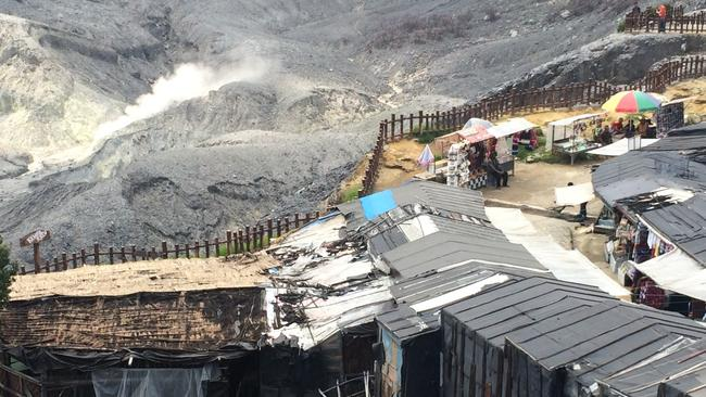 People live on the rim of the dormant Tangkuban Perahu volcano, which oozes sulphur into their shacks, in Bandung, Indonesia.