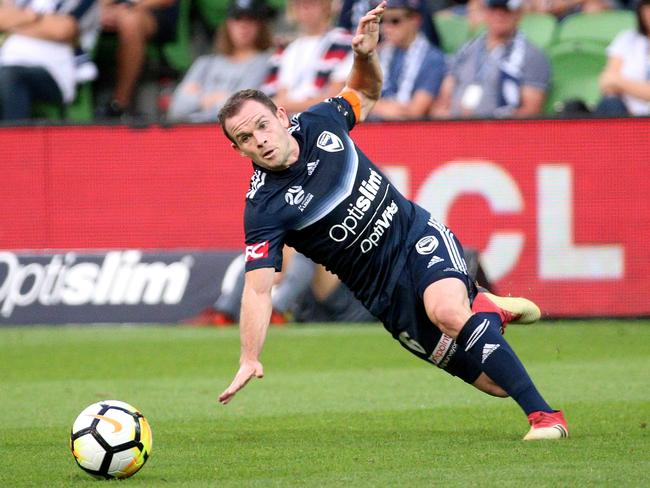 Leigh Broxham scored an own goal to put Melbourne behind. Picture: AAP