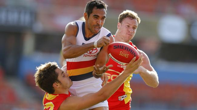 Eddie Betts is tackled during Adelaide's clash against Gold Coast. Picture: Jerad Williams