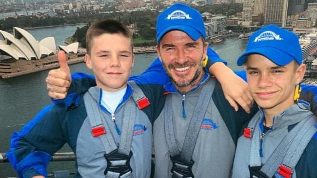 David Beckham takes sons, Romeo Beckham Cruz Beckham for hike up the Sydney Harbour Bridge. Image: David Beckham/Instagram.
