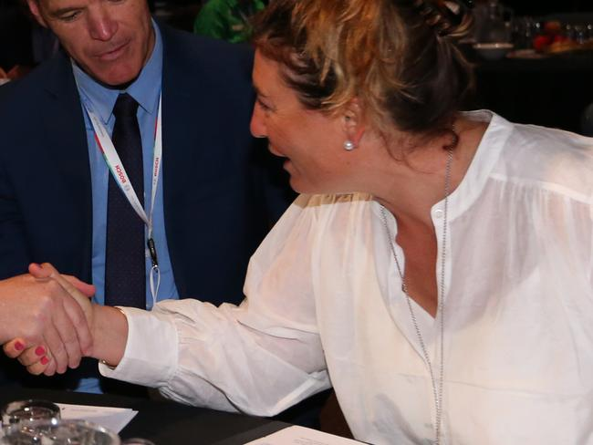 Pm Scott Morrison meeting Catherine Marriott before speaking at the Address to National Farmers Federation 2018 National Congress in Canberra. Picture Kym Smith