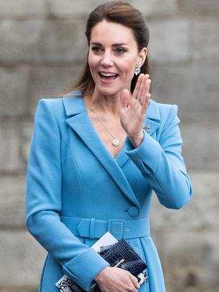 A relaxed Duchess of Cambridge wearing one of her signature coats during a visit to Scotland last week. Picture: Jane Barlow/AFP