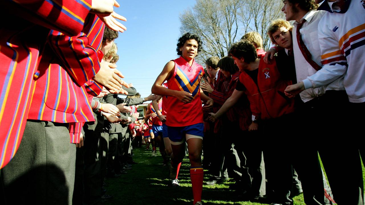 Cyril Rioli makes his way out for a Scotch College game.